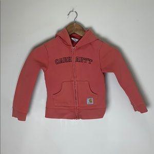 Carhartt pink zip up sweatshirt girls size 6